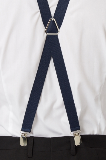 Navy Skinny Clip-On Braces