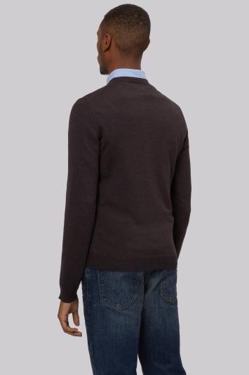 DKNY Slim Fit Brown Merino Wool Crew Neck Jumper