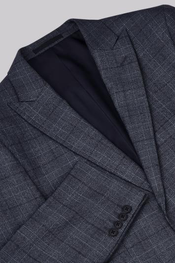Moss Esq. Regular Fit Vintage Blue Check Jacket