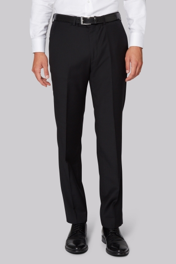 Hardy Amies Tailored Fit Black Clear Cut Trousers