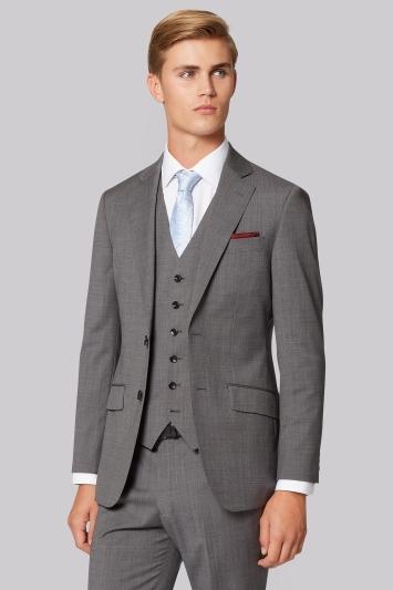 Hardy Amies Tailored Fit Light Grey Nailhead Jacket