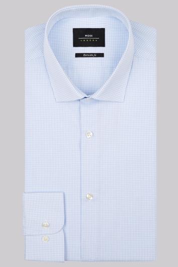 Moss London Premium Extra Slim Fit Sky Single Cuff Check Shirt