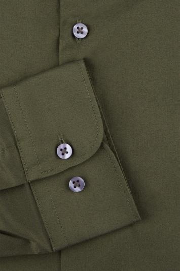 Moss London Extra Slim Fit Khaki Single Cuff Stretch Shirt