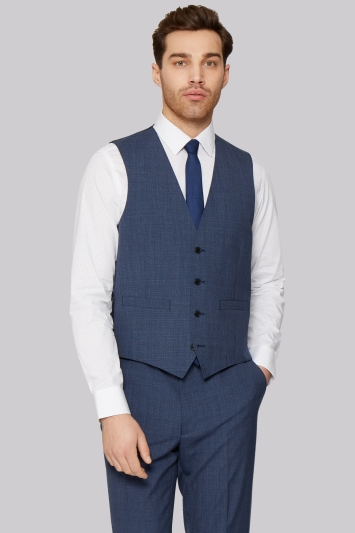 French Connection Slim Fit Blue Textured Jacket