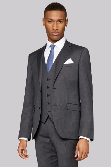 DKNY Slim Fit Dark Charcoal Texture Jacket
