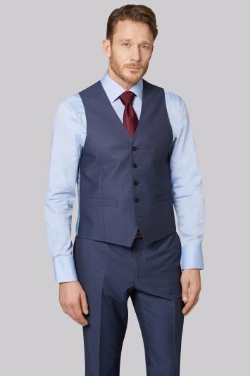 Moss Esq. Regular Fit Blue Pindot Jacket