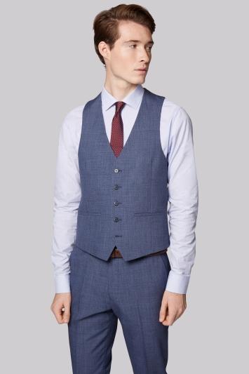 Moss London Skinny Fit Blue Speckled Waistcoat