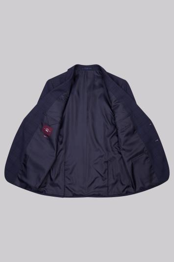 Moss Esq. Regular Fit Blue Check Jacket