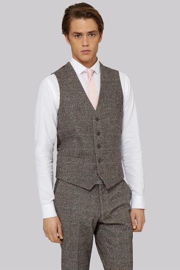 Moss London Slim Fit Light Brown Check Waistcoat