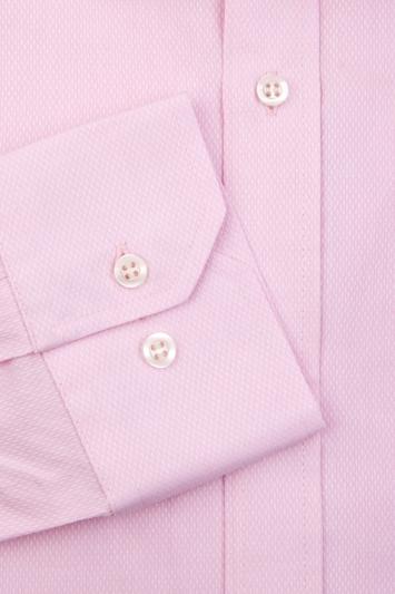 Moss Esq. Regular Fit Pink Single Cuff Textured Shirt