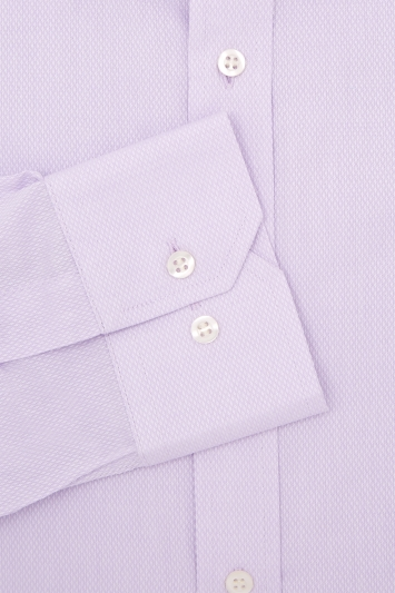 Moss Esq. Regular Fit Lilac Single Cuff Textured Shirt