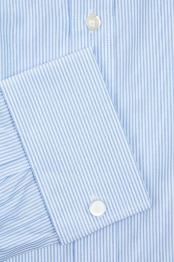 Savoy Taylors Guild Regular Fit Blue Double Cuff Stripe Shirt