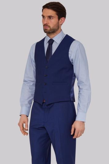 Mens Navy Pinstriped Waistcoat Regular Fit Single Breasted Suit Vest Moss Esq