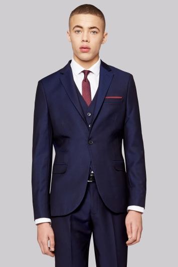 Moss London Skinny Fit Navy Jacquard Jacket