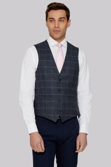 Moss 1851 Tailored British Wool Blue Grey Windowpane Waistcoat