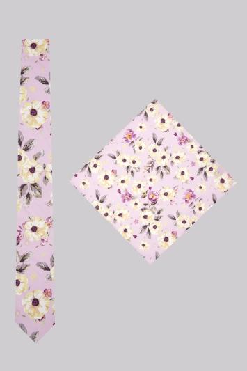 Moss London Pink Botanical Skinny Tie & Pocket Square Set