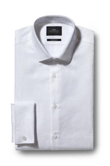 Moss London Extra Slim Fit White Double Cuff Rose Jacquard Shirt