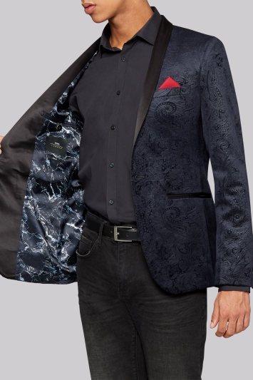 Moss London Slim Fit Navy Paisley Velvet Jacket