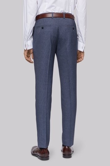 Moss London Skinny Fit Light Blue Texture Trousers