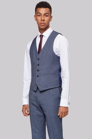 Moss London Skinny Fit Light Blue Texture Waistcoat
