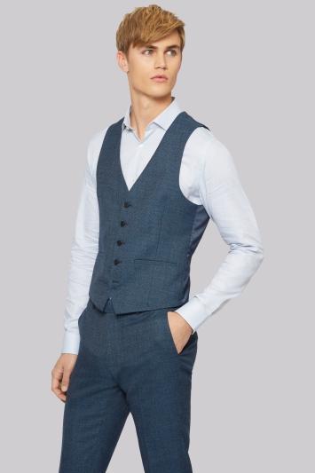 Moss London Skinny Fit Bright Blue Texture Waistcoat