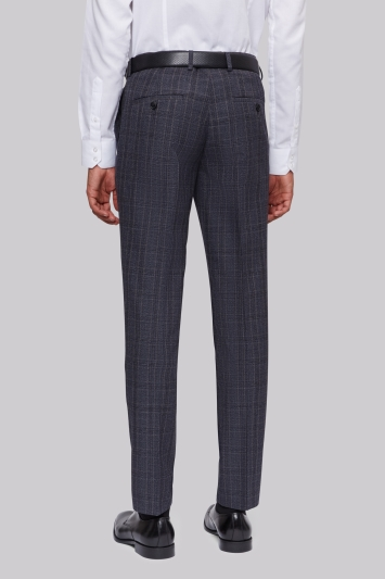 Moss London Skinny Fit Grey Check Trousers