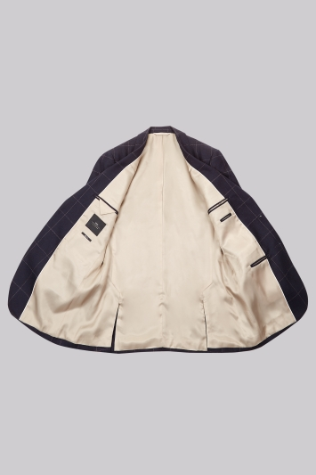 Moss London Skinny Fit Navy Camel Windowpane Jacket