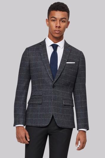 Moss London Charcoal Teal Windowpane Jacket