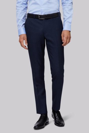 Moss London Skinny Fit Navy Semi Plain Trouser