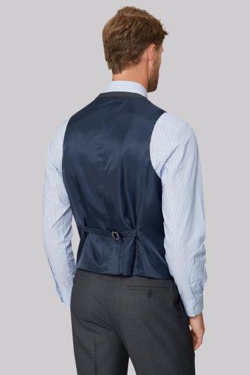 Moss Esq. Regular Fit Airforce Blue Birdseye Waistcoat