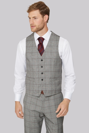 Moss Esq. Regular Fit Black & White with Red Prince of Wales Check Waistcoat