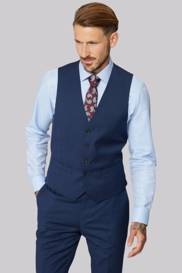 Moss 1851Tailored Fit Bright End on End Waistcoat