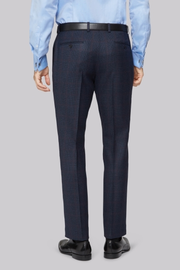 Moss 1851 Tailored Fit Blue with Red Check Trouser