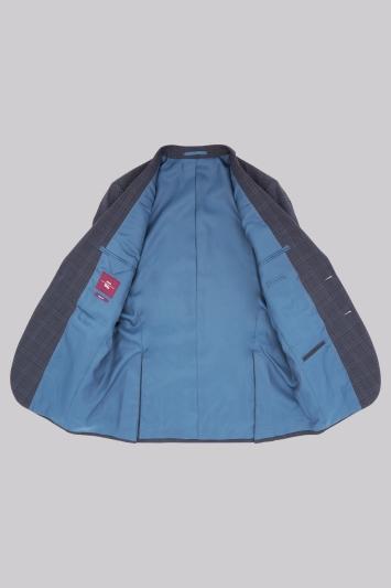Moss Esq. Regular Fit Navy Check Jacket