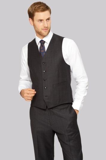 Ermenegildo Zegna Cloth Regular Fit Grey & Burgundy Check Waistcoat