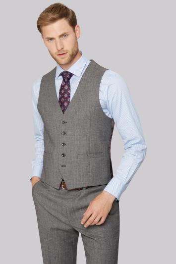 Savoy Taylors Guild Regular Fit Neutral Milled Birdseye Waistcoat