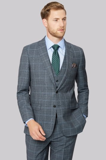 Savoy Taylors Guild Soft Blue Prince of Wales Check Jacket