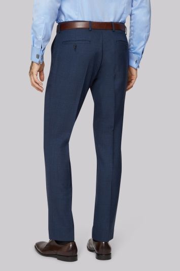 Moss 1851 Wool Rich Machine Washable Blue Semi Plain Trousers