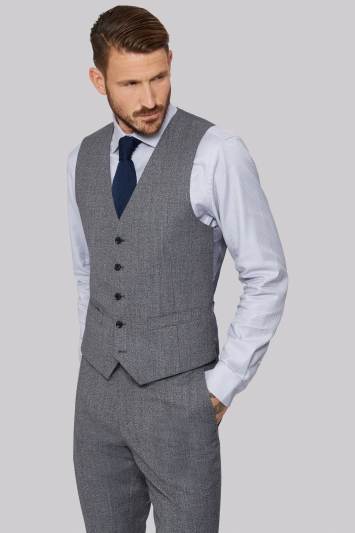 Moss 1851 Tailored Fit Light Grey Speckled Waistcoat