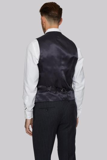 Moss 1851 Tailored Fit Charcoal Melange Stripe Waistcoat
