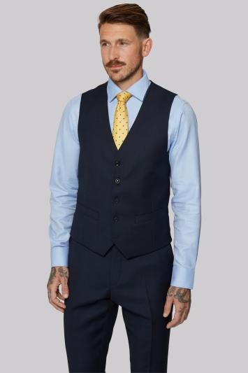Moss 1851 Tailored Fit Navy Birdseye Waistcoat