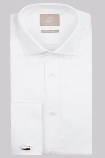 Savoy Taylors Guild Regular Fit White Double Cuff Diamond Texture Shirt