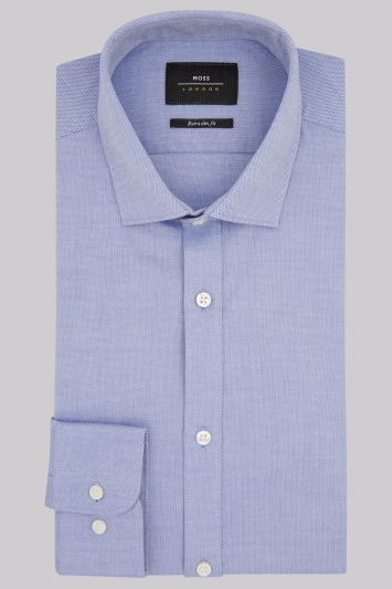 Moss London Premium Extra Slim Fit Blue Single Cuff Textured Shirt