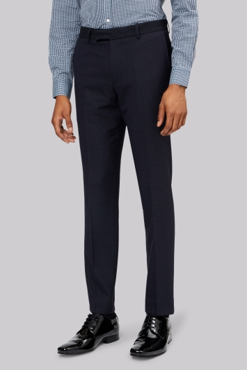 Moss London Navy Jacquard Trousers