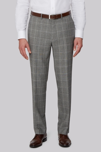 Savoy Taylors Guild Regular Fit Black & White Check Trousers
