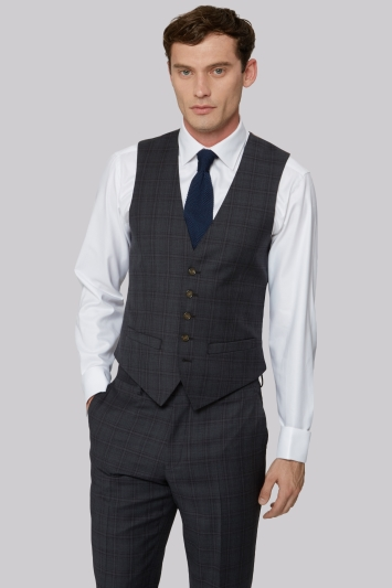 Ted Baker Tailored Fit Charcoal with Red Check Waistcoat