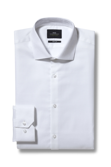 Slim Fit White Textured Shirt