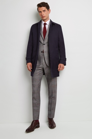 Moss 1851 Tailored Fit Indigo Blue Rainmac with Quilted insert.