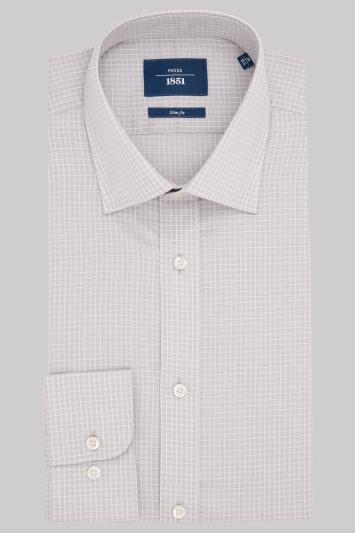 Moss 1851 Slim Fit Grey and White Single Cuff Overcheck Shirt