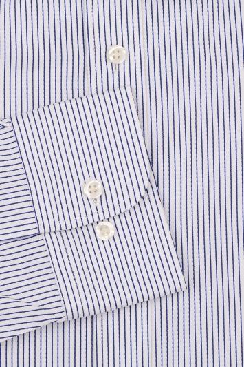 Moss 1851 Slim Fit Blue Single Cuff Textured Stripe Shirt